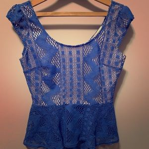 Crochet style blue peplum top